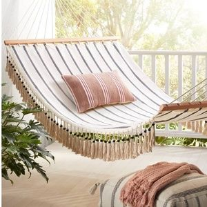 Hearth & Hand Accents - Hearth & Hand Outdoor Pillow Stripe Oblong Rose